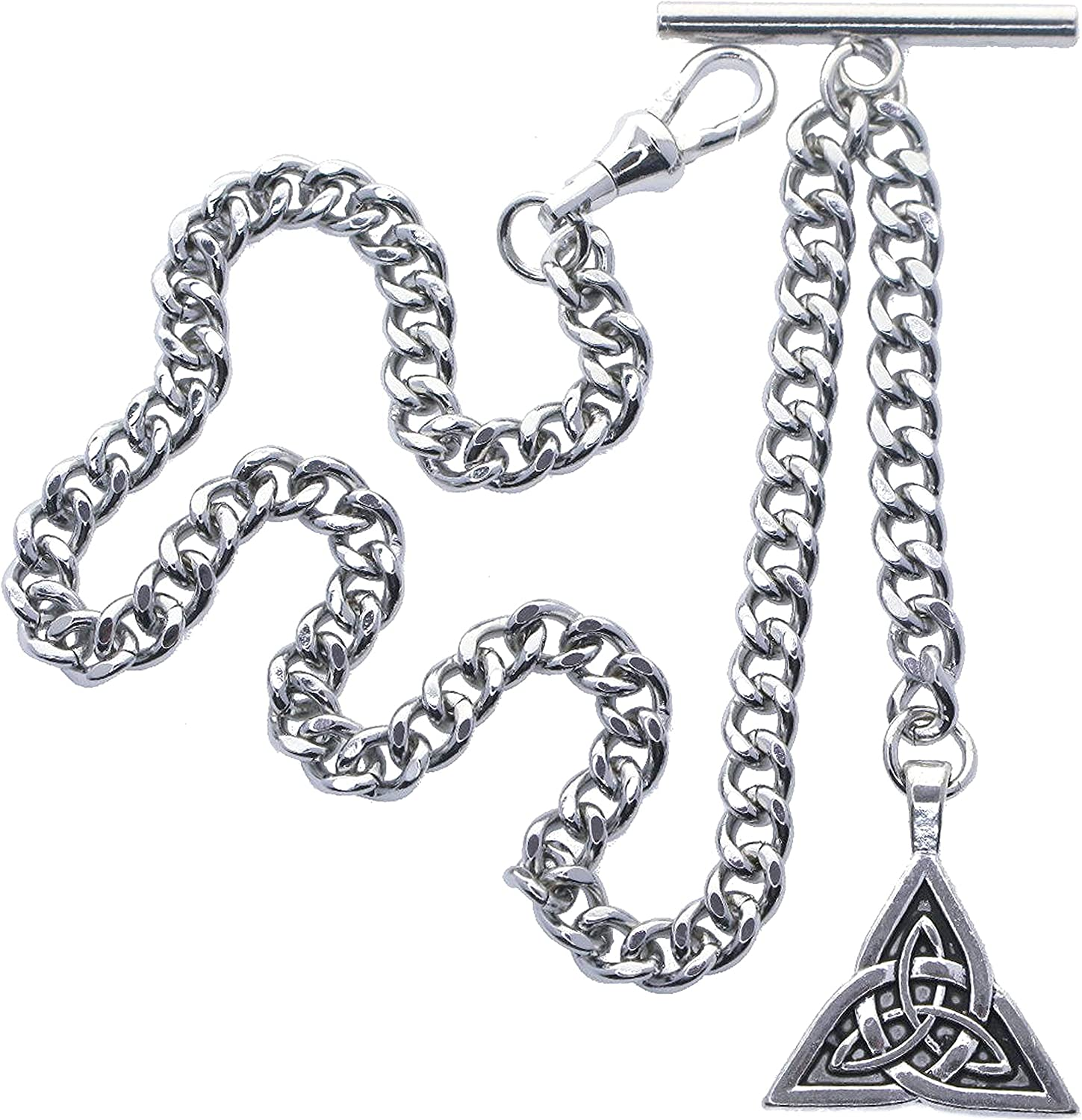 watchvshop Albert Chain Silver Color Pocket Watch Chain Fob Chain for Men Trinity Celtic Knot Design Medal Fob with T Bar Swivel Clasp AC191A : na: Clothing, Shoes & Jewelry