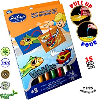 Navisima The Most Famous Sand Art Kits for Kids in All Europe. RED Castle Sand Painting Art Kits, Colored Sand Painting, DIY Learning Craft Kit, Helicopter & Aircraft