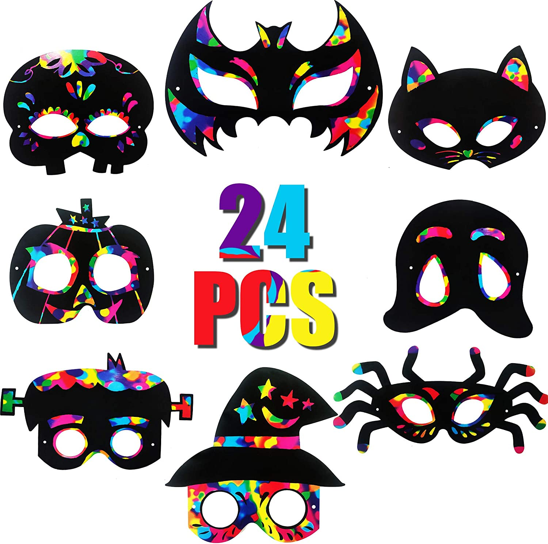 Funnlot 24PCS Halloween Scratch Art Hal Craft Kit Mask Over item Super Special SALE held handling