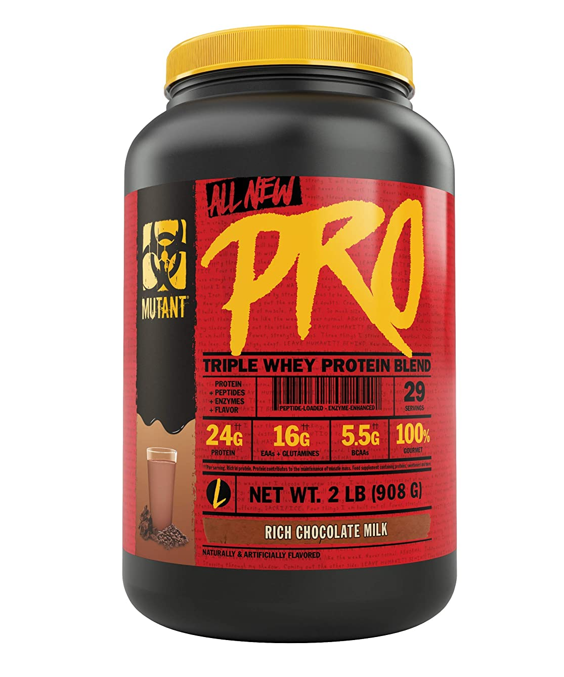 Mutant Pro – Triple Whey Protein Powder Supplement, Time-Released for Enhanced Amino Acid Absorption, Decadent Gourmet Flavors, 2lb - Rich Chocolate Milk