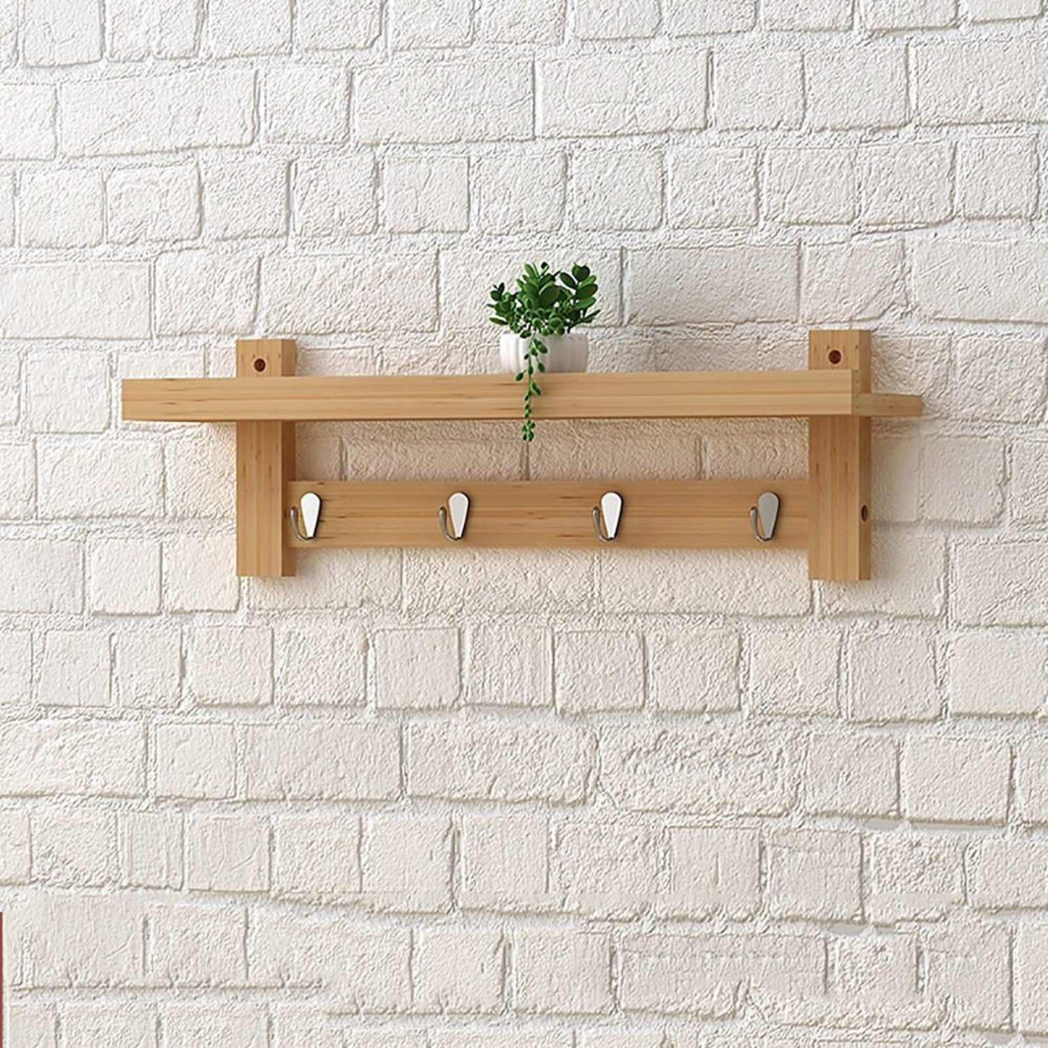 LFF- Bedroom Porch Wall Mounted Solid Wood Coat Rack Shelf Nordic Creative Wall Hanging Coat Hook Hanger Wall Hooks (color   Natural, Size   A)