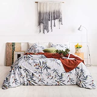 YuHeGuoJi 3 Pieces Duvet Cover Set 100% Cotton Gray Queen Size Botanical Bedding Set 1 Floral Leaves Print Duvet Cover with Zipper Ties 2 Pillowcases Hotel Quality Soft Breathable Comfortable Durable