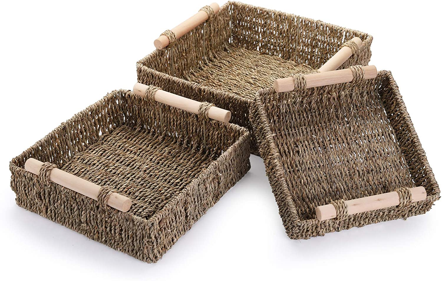Yarlung 3 Pack Seagrass Baskets Wooden Nesting Han Ranking TOP13 Award Handles with