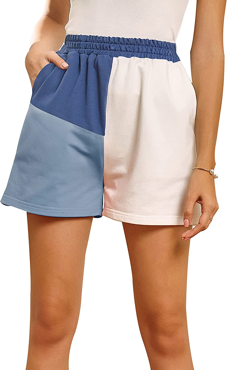 Uaneo Womens Color Block Elastic High Waist Casual Summer Shorts with Pockets (Blue-S)