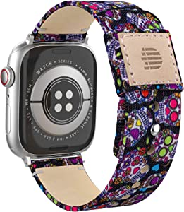 Dowsabel Cute Bands Compatible with Apple Watch 38mm 40mm 42mm 44mm, Fabric Cloth Canvas Strap with Soft Genuine Leather Lining Replacement for iwatch Series SE 6 5 4 3 2 1 (38/40mm, Skull)