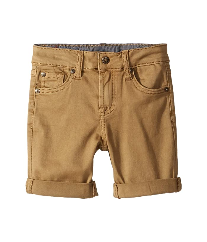 7 For All Mankind Kids  Classic Five-Pocket Stretch Twill Shorts in Dark Khaki (Little Kids/Big Kids) (Dark Khaki) Boys Shorts