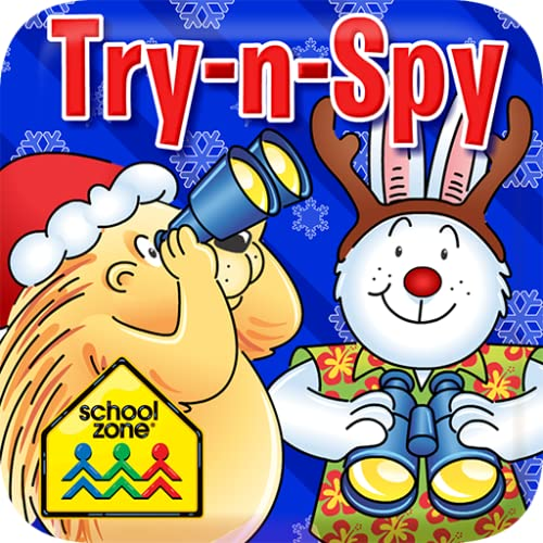 School Zone - Jolly Try-N-Spy - Ages 3-6, Holiday, Christmas, Hidden Pictures, Search & Find, Picture Puzzles, and More