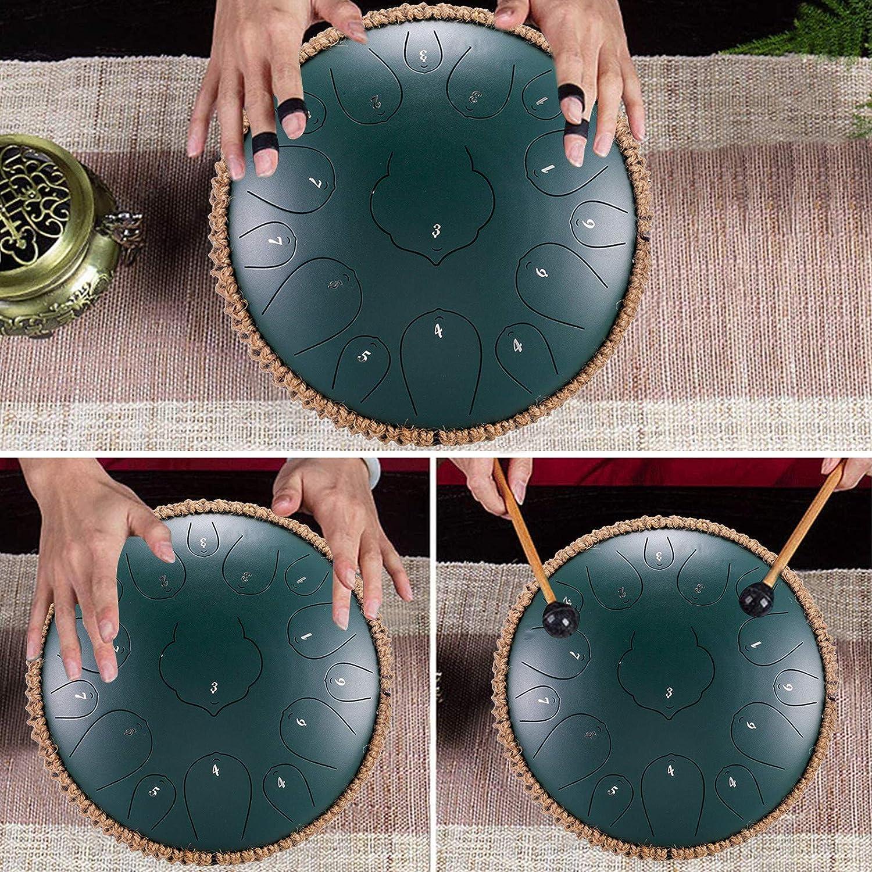 Instrumento de Tambor para Yoga con Bolsa de Transporte Tambor de Tanque Ahagut Tambor de Lengua de Acero meditaci/ón y sanaci/ón con Sonido 13 Pulgadas A handpan 15 Notas
