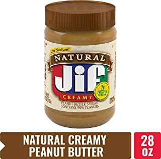 Jif Natural Creamy Peanut Butter Spread, 28 oz. (10 Count) – 7g (7% DV) of Protein per Serving, Smooth, Creamy Texture – No Stir Natural Peanut Butter