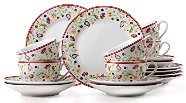 Ritzenhoff & Breker Shanti Doppio Coffee Tableware 18 Pieces, Porcelain, Dishwasher Safe, 17960