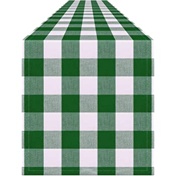 ALAZA St Patrick Day Shamrocks Plaid Pattern Table Runner for Wedding Party Banquet Coffee Table Cloth Home Kitchen Decoration,13 x 90 inches