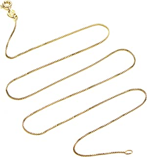 18k Gold Over Sterling Silver 1mm Box Chain Necklace Made in Italy Available 14 inch- 40 inch