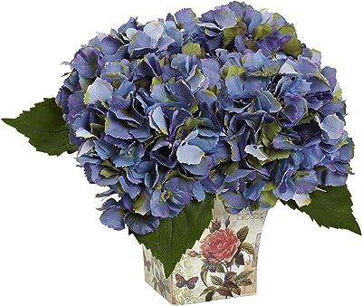 Nearly Natural 1373-BL Hydrangea Silk Arrangement with Floral Planter, B