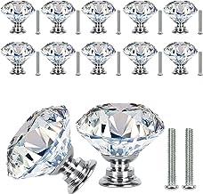 VIPMOON Kristallen Kast Knoppen,12 stks 30mm Helder Glas Lade Knoppen Kristal Cut Deur Handgrepen Diamant Trekt Knoppen me...