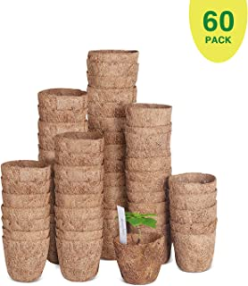 "60 Pack of 3"" Coco Coir Seed Starter Pots, Sustainable & 100% Biodegradable Pots Alternative to Peat Pots, Bonus 30 Plastic Plant Markers"