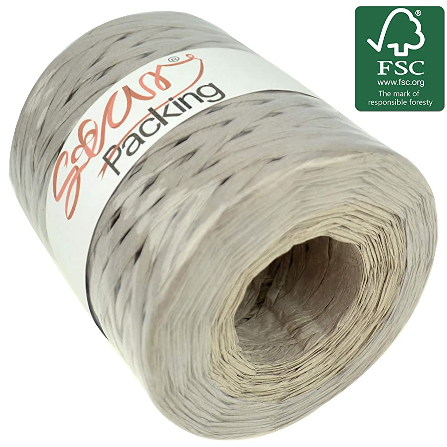 Star Packing Paper Twine 218 Yard Grey Giant Roll | Silver Matte Paper Ribbon 93 Colors Available | 3/16 Inch Width Paper Raffia Roll, Silver Color