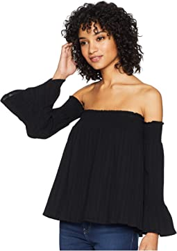 Vivienne Textured Gauze Smocked Off the Shoulder Top