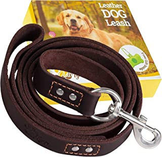 ADITYNA Leather Dog Leash 6 Foot x 3/4 inch - Soft and Strong Leather Leash for Large and Medium Dogs - Dog Training Leash...