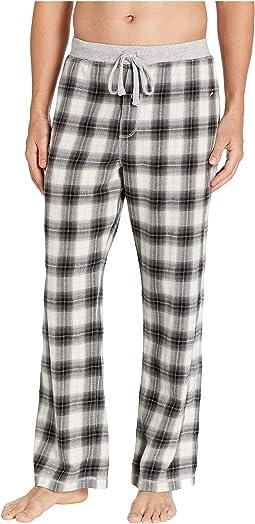 Shadow Plaid Flannel Pajama Pants with Heather Knit Trim