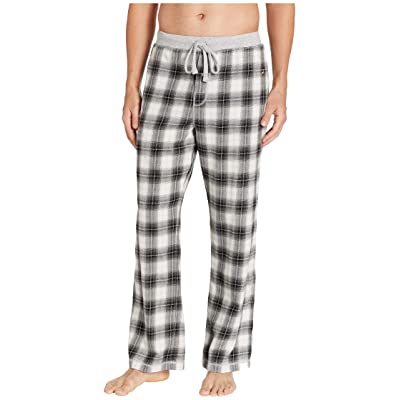 True Grit Shadow Plaid Flannel Pajama Pants with Heather Knit Trim (Charcoal) Men