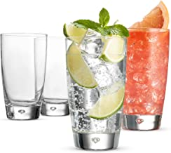 Bormioli Rocco LUNA Italian Drinking Glasses - 15 Ounce Water Glass (Set of 4) Mojito Glasses, Heavy Base Bar Glassware - Glass Cups for Juice, Beer, Wine, Whiskey, Highballs, and Cocktails, Lead-Free