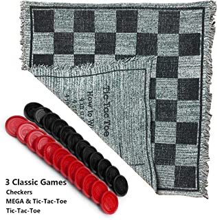 Giant Checkers, 3-in-1 Jumbo Checkers and Super Tic Tac Toe Set with Reversible Rug - Indoor/Outdoor Jumbo Board Games