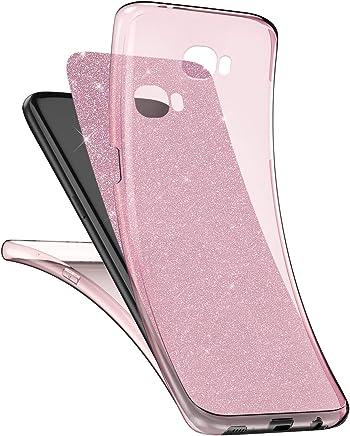 Charms Surakey Cover Samsung Galaxy J7 2017 Specchio Clear View Case Ultra Sottile Flip Libro Custodia con Funzione Supporto Semi Trasparente PC Portafoglio Protettiva Cover per Galaxy J7 2017/J730,Oro Rosa