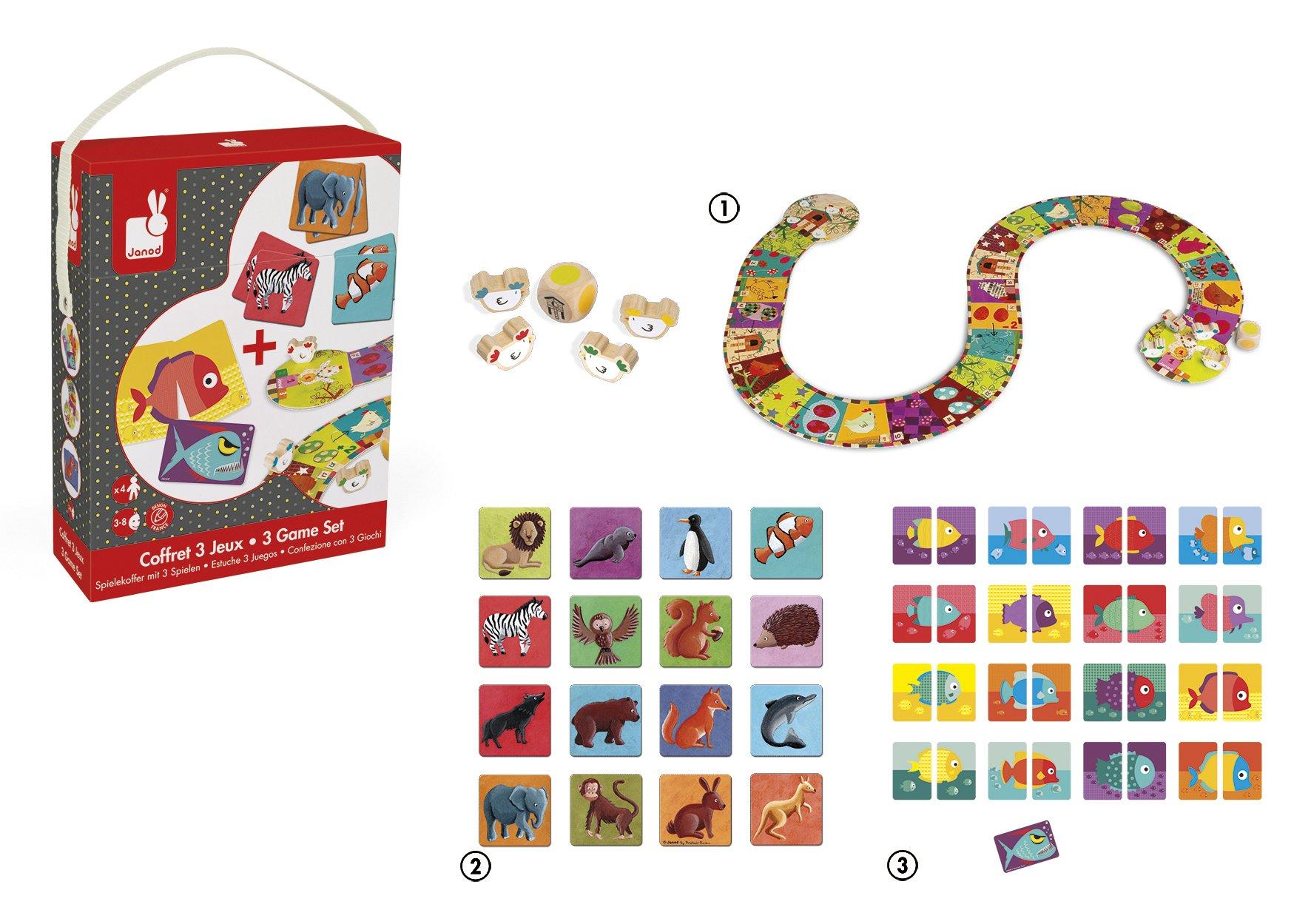 Janod - Estuche 3 Juegos de Mesa (J02805): Amazon.es: Juguetes y juegos