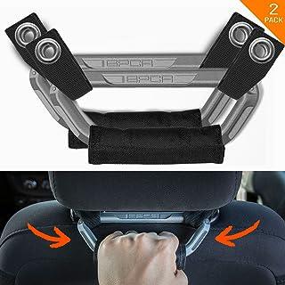 GPCA Headrest Grab Handles PRO Universal for Jeep, Truck,Sports Car,Easy headrest Pole Mount for 4X4 Off-Road Backseat Passengers. GP Back Grip Patent Pending. (Metallic Aluminum)