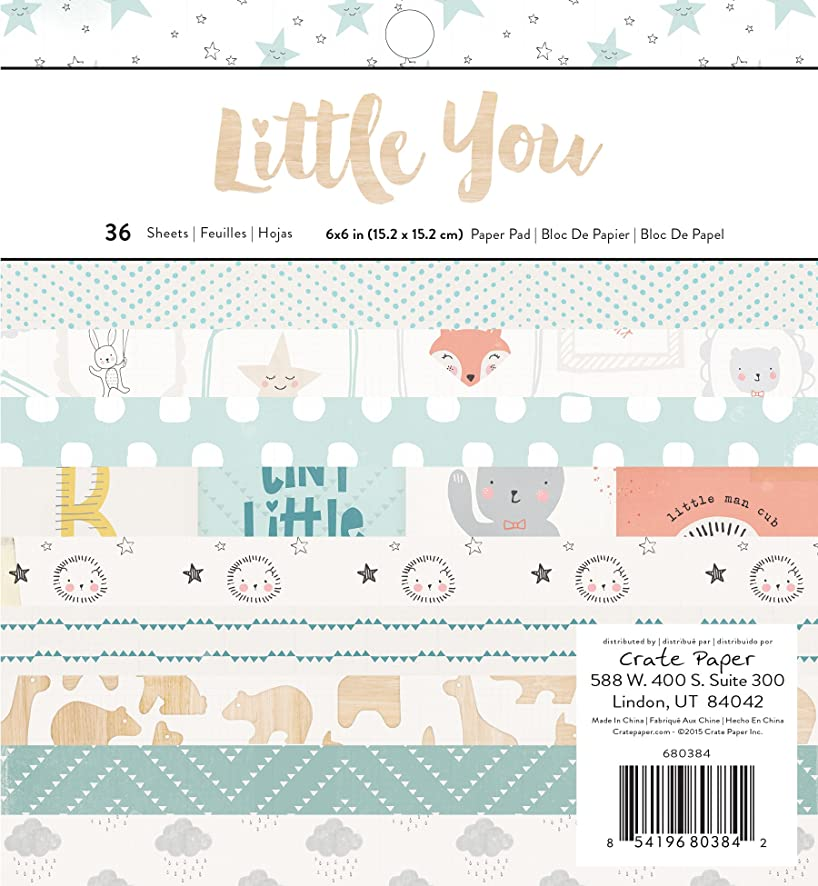 Crate Paper Little You 36 Sheet Boy Paper Pad, 6 x 6