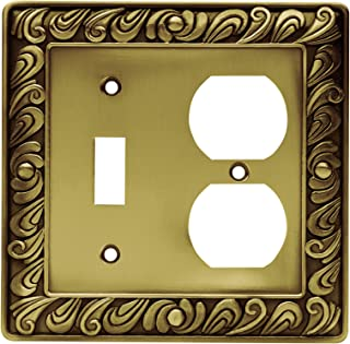 Franklin Brass 64051 Paisley Single Toggle Switch/Duplex Outlet Wall Plate/Switch Plate/Cover, Tumbled Antique Brass