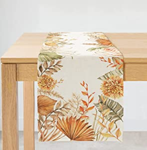 ARKENY Fall Thanksgiving Leaves Floral Table Runner 13x72 Inches Long Farmhouse Indoor Outdoor Vintage Theme Gathering Dinner Party Holiday Decor AT005
