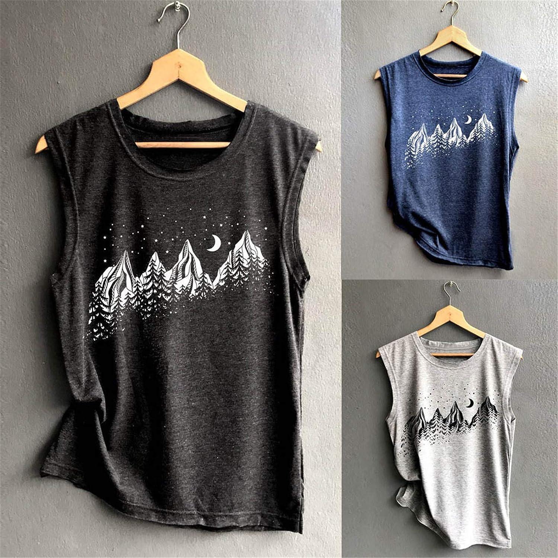 Kcocoo Women's Summer Tank Top Print Solid Sleeveless Tunics Rib Knit Round Neck Basic Casual Tee T-Shirt