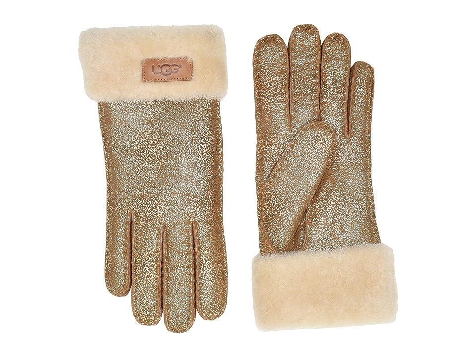 UGG Turn Cuff Water Resistant Sheepskin Gloves (Metallic Chestnut) Extreme Cold Weather Gloves