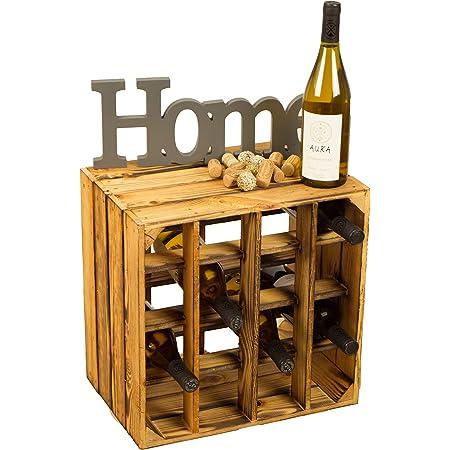 Kistenkolli Altes Land® Boîte de rangement pour 16 bouteilles de vin Blanc/naturel/flammé 40 x 40 x 27 cm, Bois dense, Casier à vin flammé., 40x40x27cm
