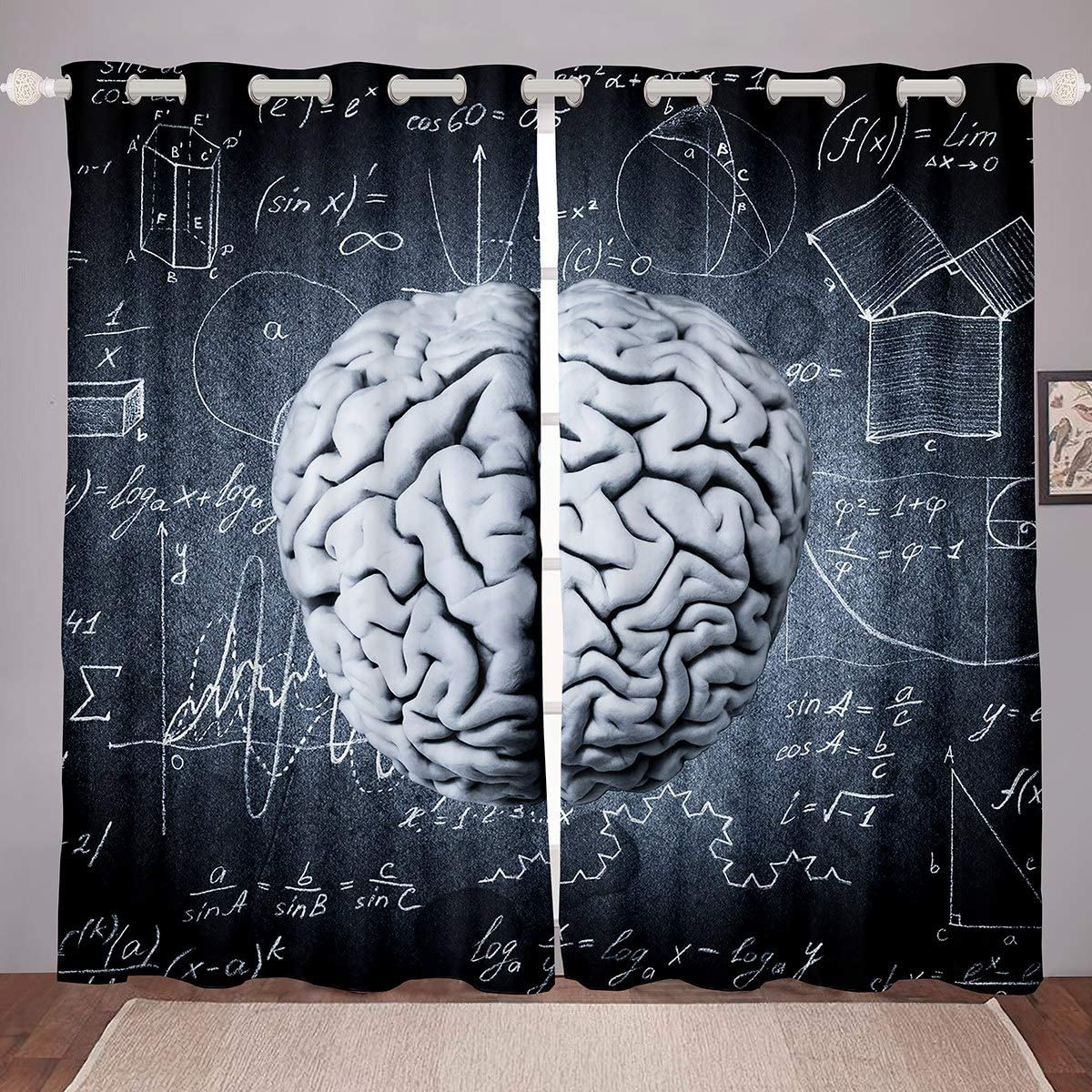 Brain Room Darkening Curtain Mathematical Intelligence Development Blackout Curtain for Bedroom for Kids Boys Girls Biological Thermal Curtain Early Education Blackout Drapes,38 X 54 Inch,2 Panels
