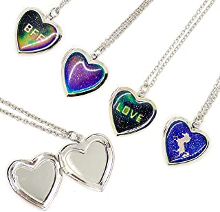 FROG SAC 4 Pcs Mood Locket Necklaces for Girls - Color Changing Mood Necklace Set with Glitter Heart Locket Pendants - Unicorn, BFF, Love and Plain Heart Glitter Pendants - Mood Jewelry for Girls