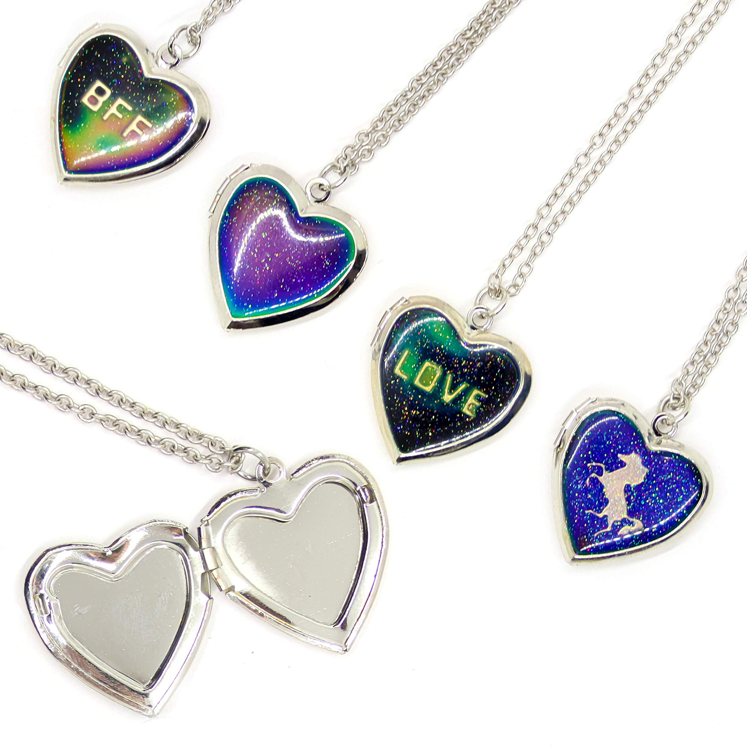CliPons Mood Charm Necklace for Girls Heart Locket Pendant Letter be Unique be Beautiful be You