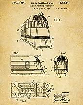 Train Railcar Patent Wall Art Print - one (11x14) Unframed - wall art decor for locomotive lovers