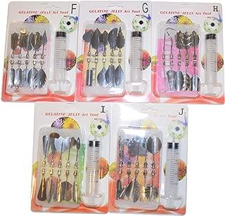 JJMG 3D Jelly Cake Needle Tips 5-Set DIY Gelatin Art Flower Needles Baking Pastry Tool with Syringe Jello Cake Stainless Steel Tips Tools (FGHIJ 5 x 10pcs/set = total 50 tips)