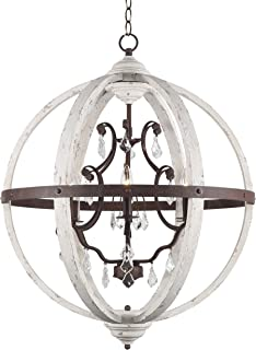 DOCHEER 6-Light Retro Rustic Wood Ceiling Pendant Chandelier Distressed White Wooden Metal Globe Chandeliers Crystal Lighting, 27.3
