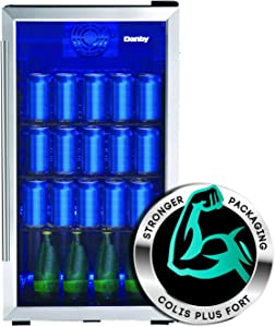 Danby DBC117A2BSSDD-6 117 (355 ml) Can Capacity Beverage Center Single Glass Door Mini-Fridge