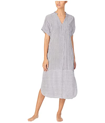 Donna Karan Seersucker Maxi Sleepshirt (Black) Women