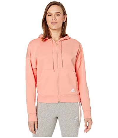 adidas Must Have Double Knit Full Zip Hoodie (Glow Pink/White) Women