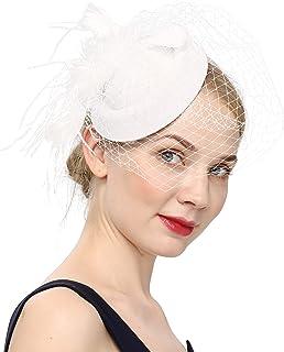 قبعات Fascinators 20s 50s قبعة صندوق حبوب الكوكتيلات والحفلات الشاي مع حجاب للفتيات والنساء