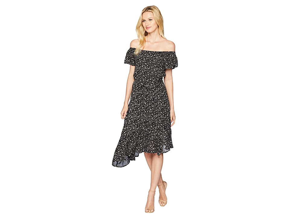 Lucky Brand Ditsy Asymmetrical Dress (Black Multi) Women