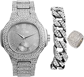 Best Bling-ed Out Oblong Case Mens PP Look Watch with Matching Bling-ed Out Cuban Bracelet and King Ring Set - 8475 CR Cuban Set Review