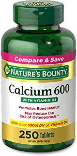 Calcium Carbonate & Vitamin D by Nature's Bounty, Supports Immune Health & Bone Health, 600mg Calcium & 800IU Vitamin D3, ...