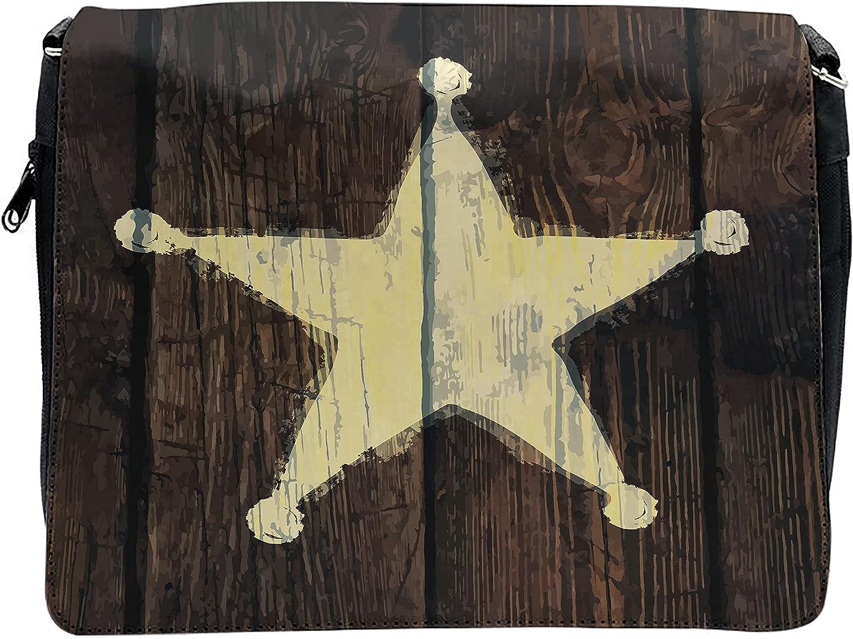 Ambesonne Western Cross Body Messenger Bag, Rustic Wooden Lone Star, Unisex