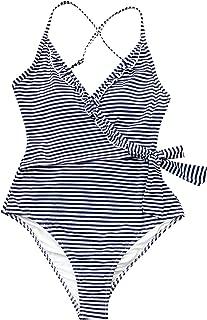 Women's Navy White V Neck Striped One Piece Swimsuit